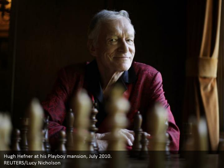 Hugh Hefner at his Playboy mansion, July 2010.  REUTERS/Lucy Nicholson