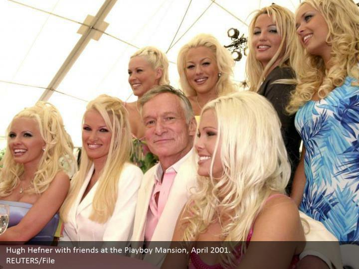 Hugh hefner with friends at the playboy mansion