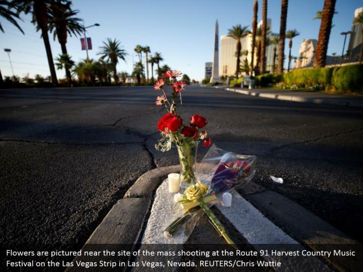 Flowers are pictured near the site of the mass shooting at the Route 91 Harvest Country Music Festival on the Las Vegas Strip in Las Vegas, Nevada. REUTERS/Chris Wattie
