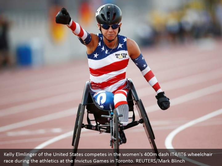 Kelly Elmlinger of the United States competes in the women's 400m dash IT4/IT6 wheelchair race during the athletics at the Invictus Games in Toronto. REUTERS/Mark Blinch