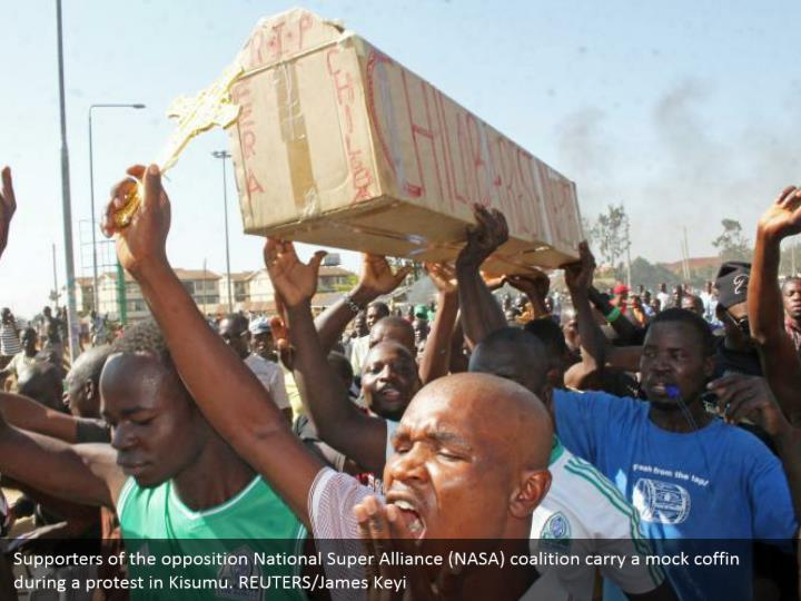 Supporters of the opposition National Super Alliance (NASA) coalition carry a mock coffin during a protest in Kisumu. REUTERS/James Keyi