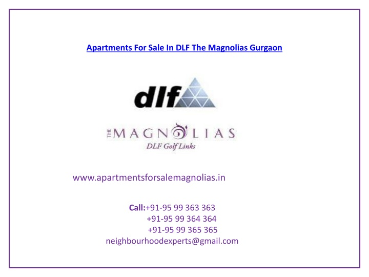 apartments for sale in dlf the magnolias gurgaon n.