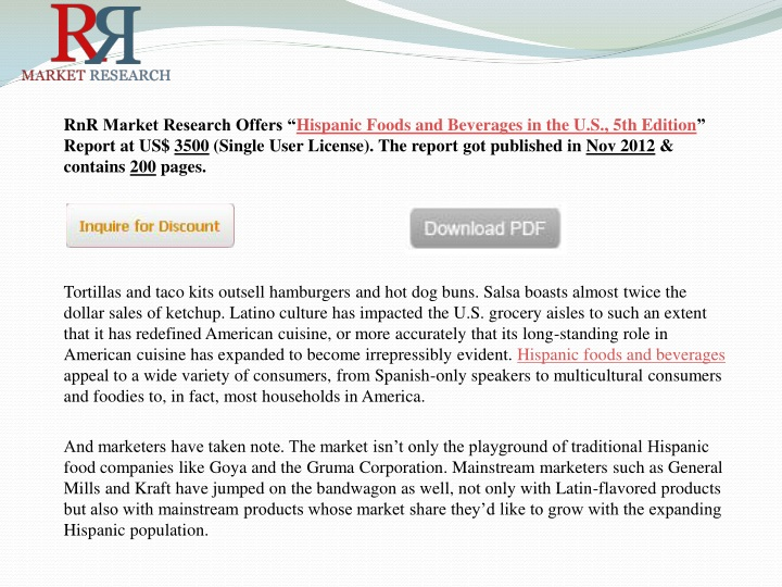 rnr market research offers hispanic foods n.