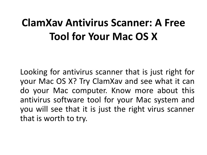 clamxav antivirus scanner a free tool for your mac os x n.