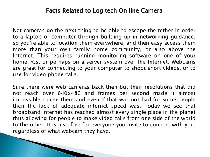 facts related to logitech on line camera n.