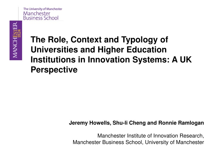 the role context and typology of universities n.