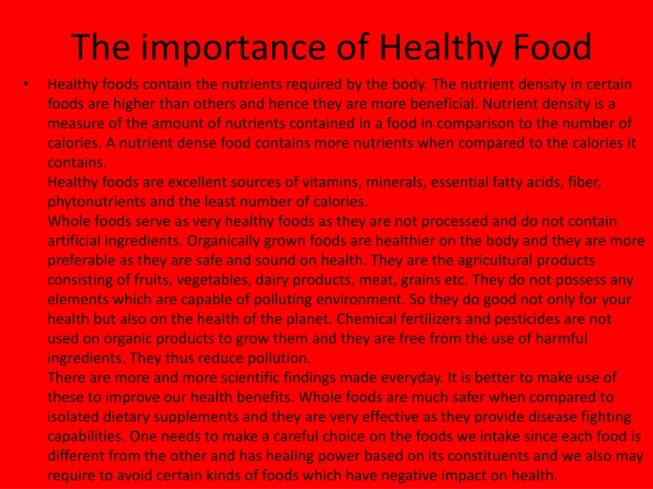 the importance of healthy food n.