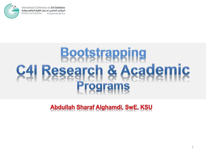 bootstrapping c4i research aca demic programs n.