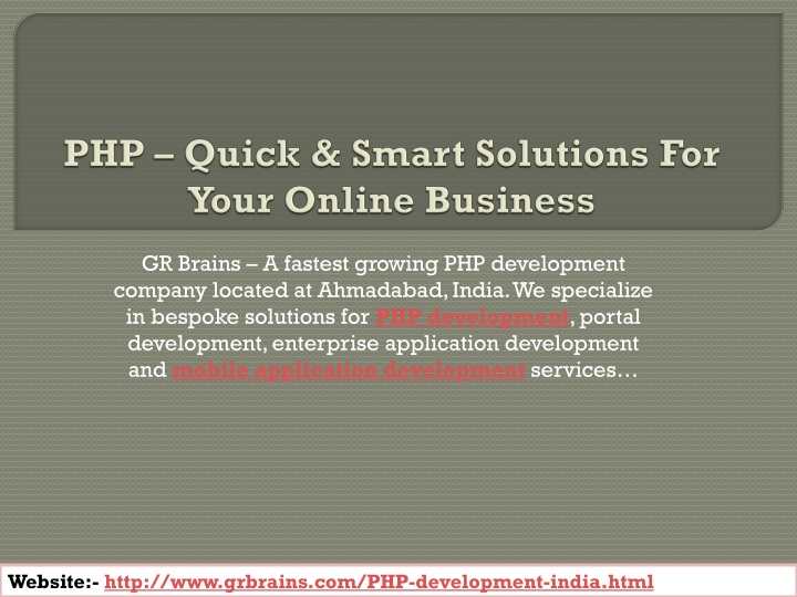 php quick smart solutions for your online business n.