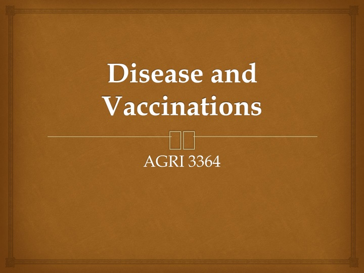 disease and vaccinations n.