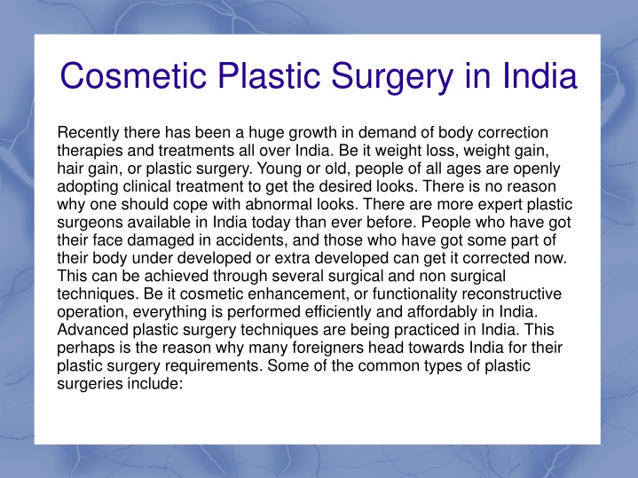 cosmetic plastic surgery in india n.