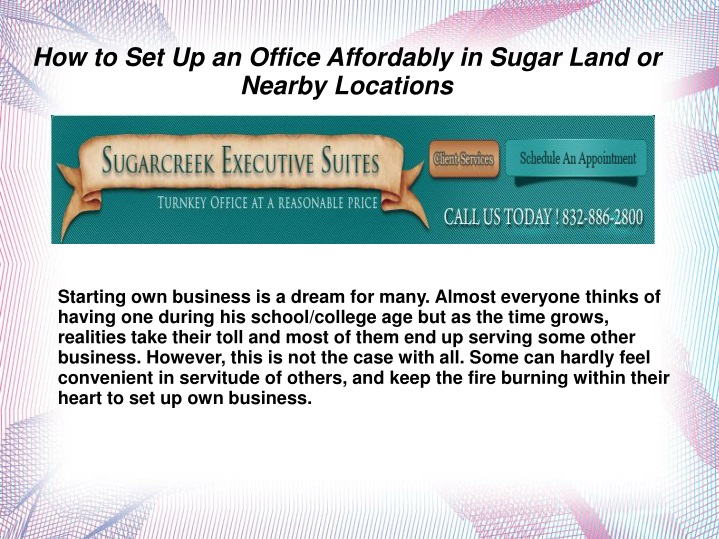 how to set up an office affordably in sugar land n.