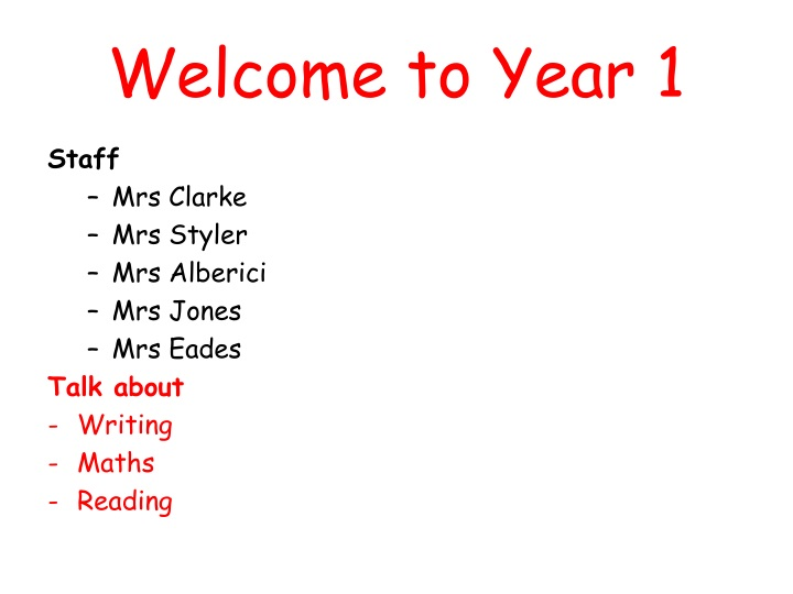 welcome to year 1 n.