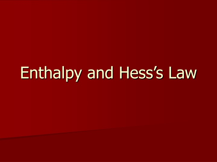 enthalpy and hess s law n.