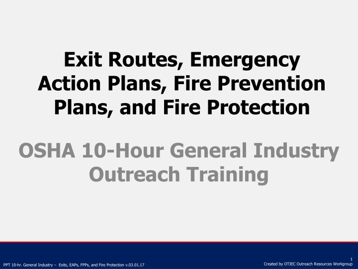 exit routes emergency action plans fire prevention plans and fire protection n.