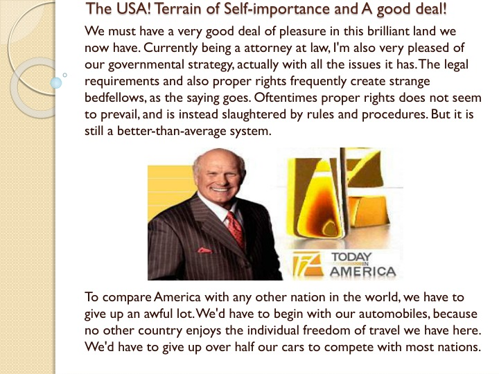 the usa terrain of self importance and a good deal n.