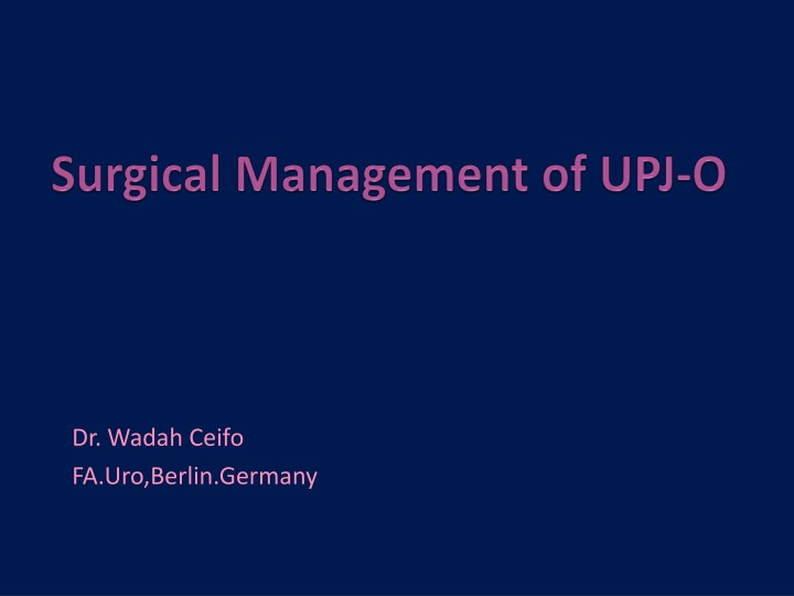 surgical management of upj o n.