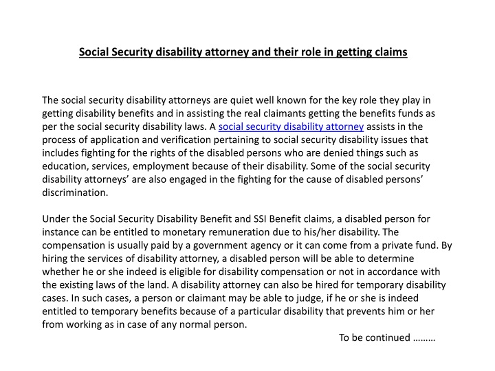 social security disability attorney and their role in getting claims n.