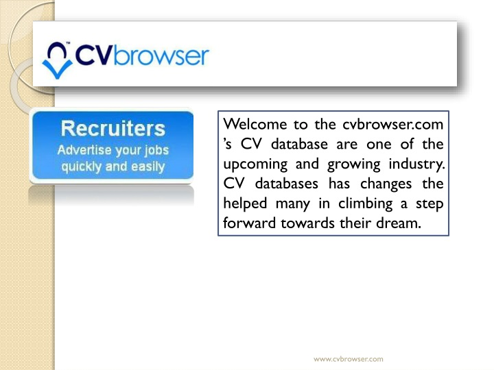 welcome to the cvbrowser com s cv database n.