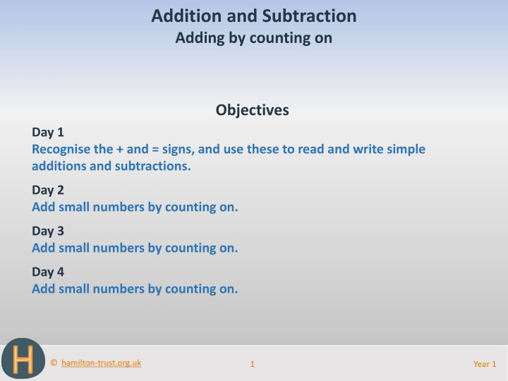 addition and subtraction adding by counting on n.
