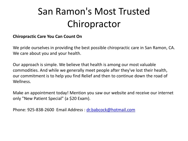 san ramon s most trusted chiropractor n.