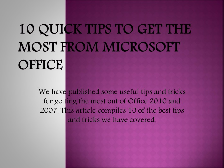 10 quick tips to get the most from microsoft office n.