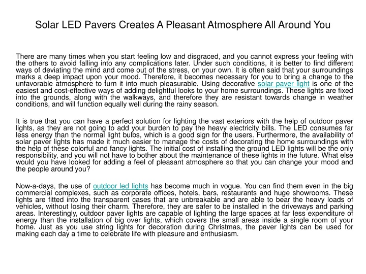 solar led pavers creates a pleasant atmosphere all around you n.