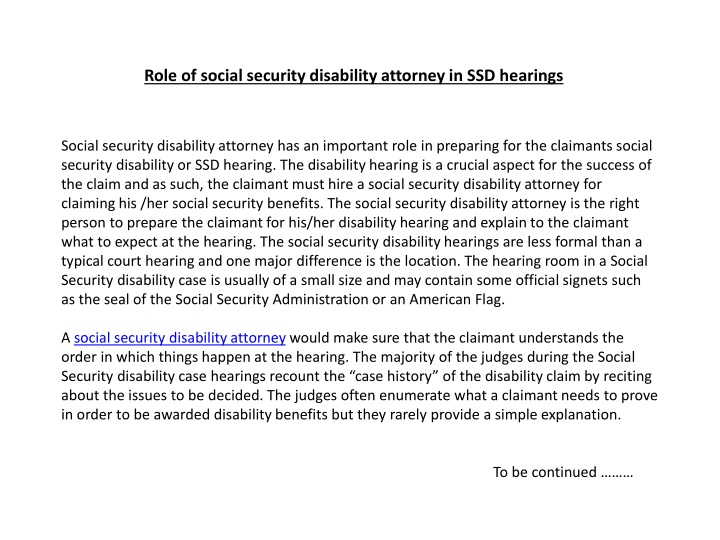role of social security disability attorney in ssd hearings n.
