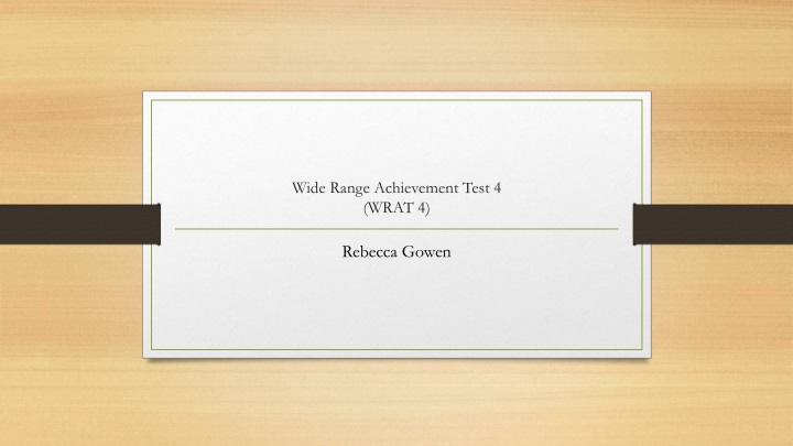 wide range achievement test 4 wrat 4 n.