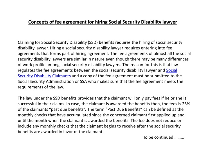 concepts of fee agreement for hiring social security disability lawyer n.