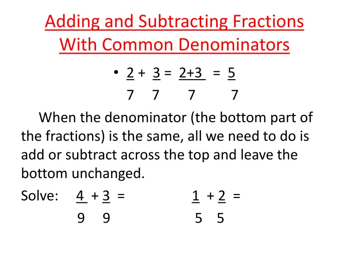 adding and subtracting fractions with common denominators n.