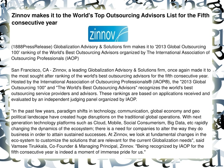 zinnov makes it to the world s top outsourcing n.