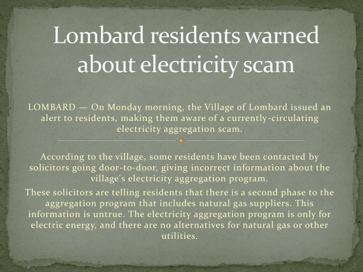 lombard residents warned about electricity scam n.