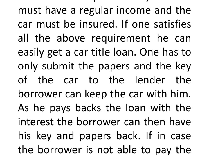 a car title loan is a loan where you keep your n.