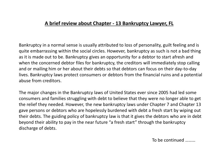 a brief review about chapter 13 bankruptcy lawyer fl n.