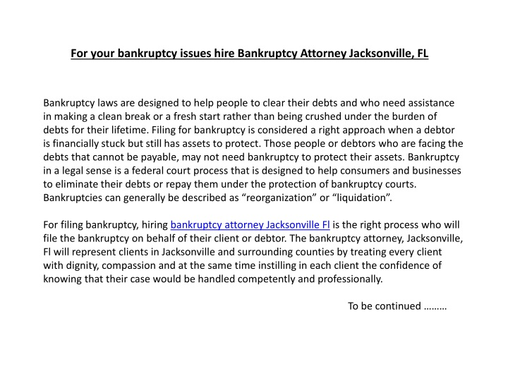 for your bankruptcy issues hire bankruptcy attorney jacksonville fl n.