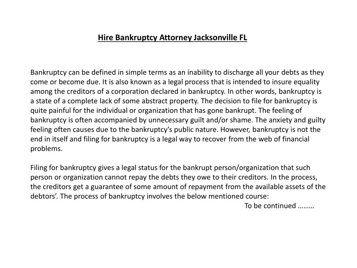hire bankruptcy attorney jacksonville fl n.