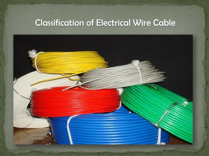 classification of electrical wire cable n.