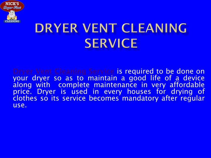 dryer vent cleaning service n.