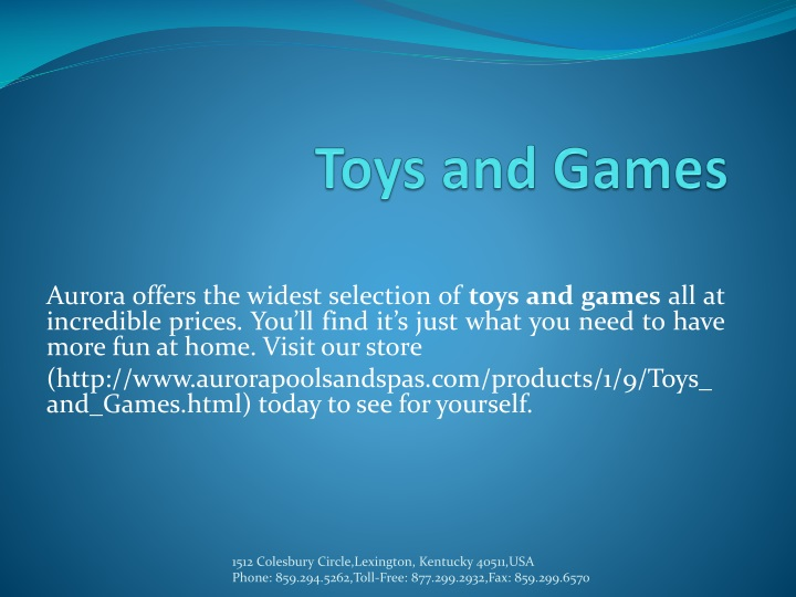 toys and games n.