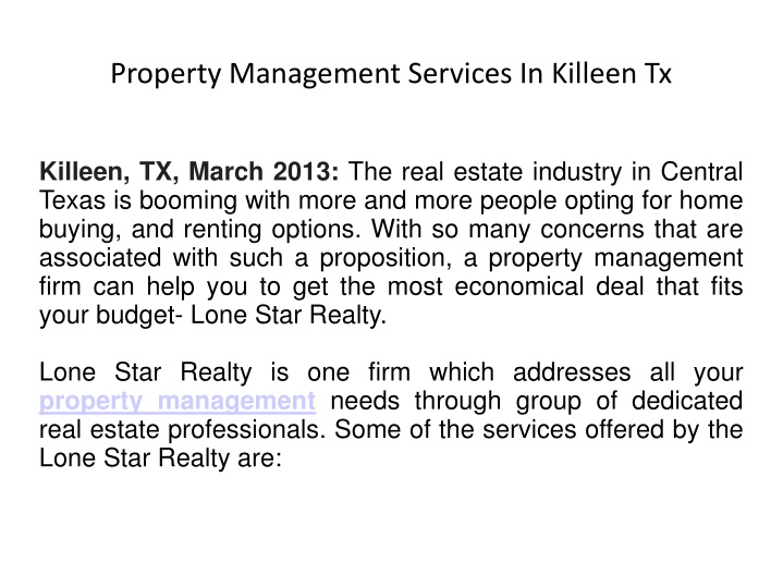 property management services in killeen tx n.