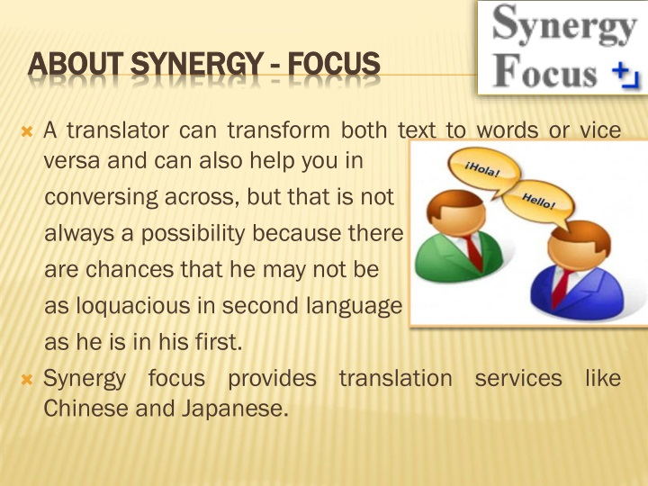 about synergy focus n.