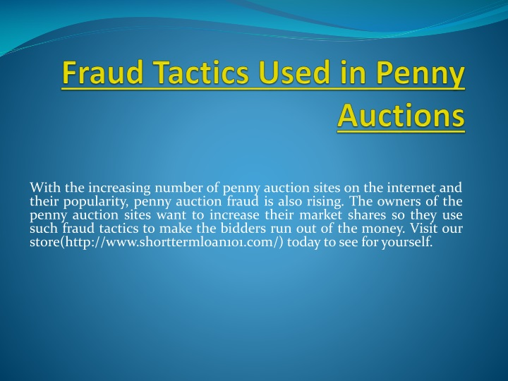 fraud tactics used in penny auctions n.