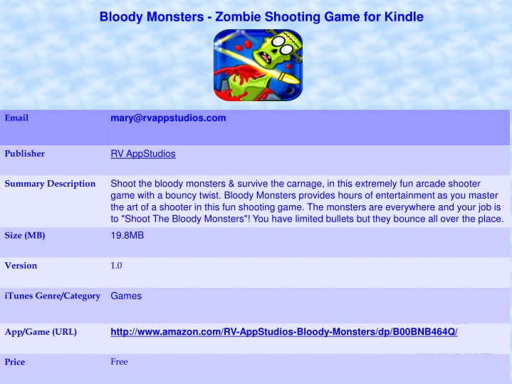 bloody monsters zombie shooting game for kindle n.