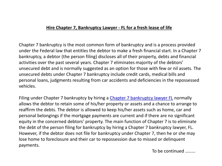 hire chapter 7 bankruptcy lawyer fl for a fresh lease of life n.