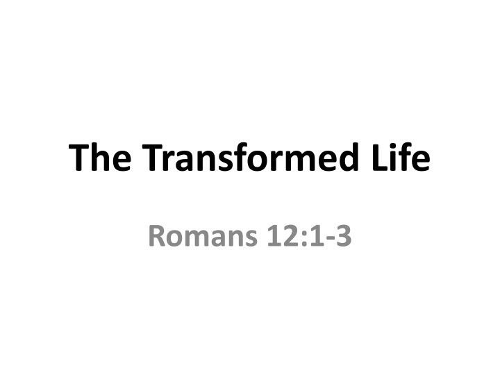 the transformed life n.