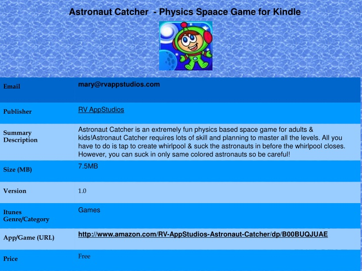 astronaut catcher physics spaace game for kindle n.