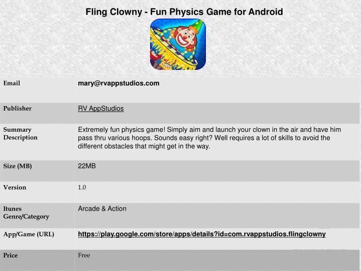 fling clowny fun physics game for android n.