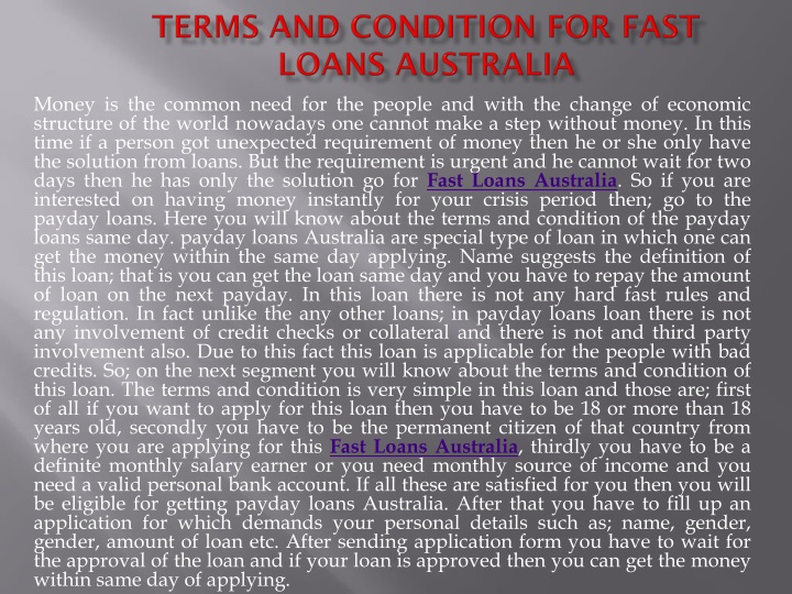 terms and condition for fast loans australia n.