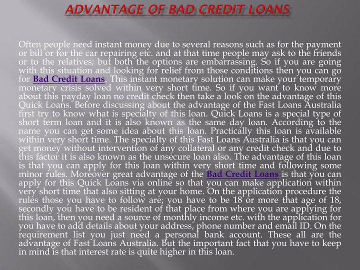advantage of bad credit loans n.